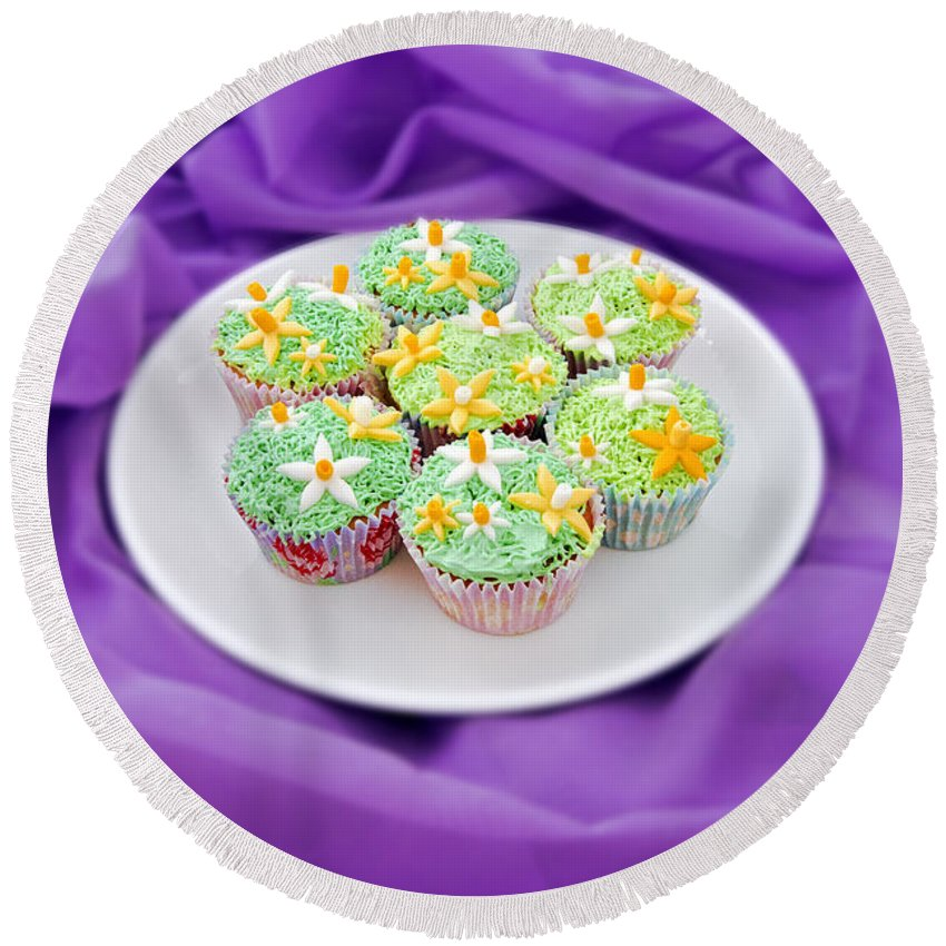 Spring Round Beach Towel featuring the photograph Spring Time Is Cupcake Time by Terri Waters