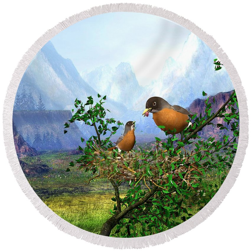 Spring Time Robins Bird Round Beach Towel featuring the digital art Spring Time Robins by John Junek