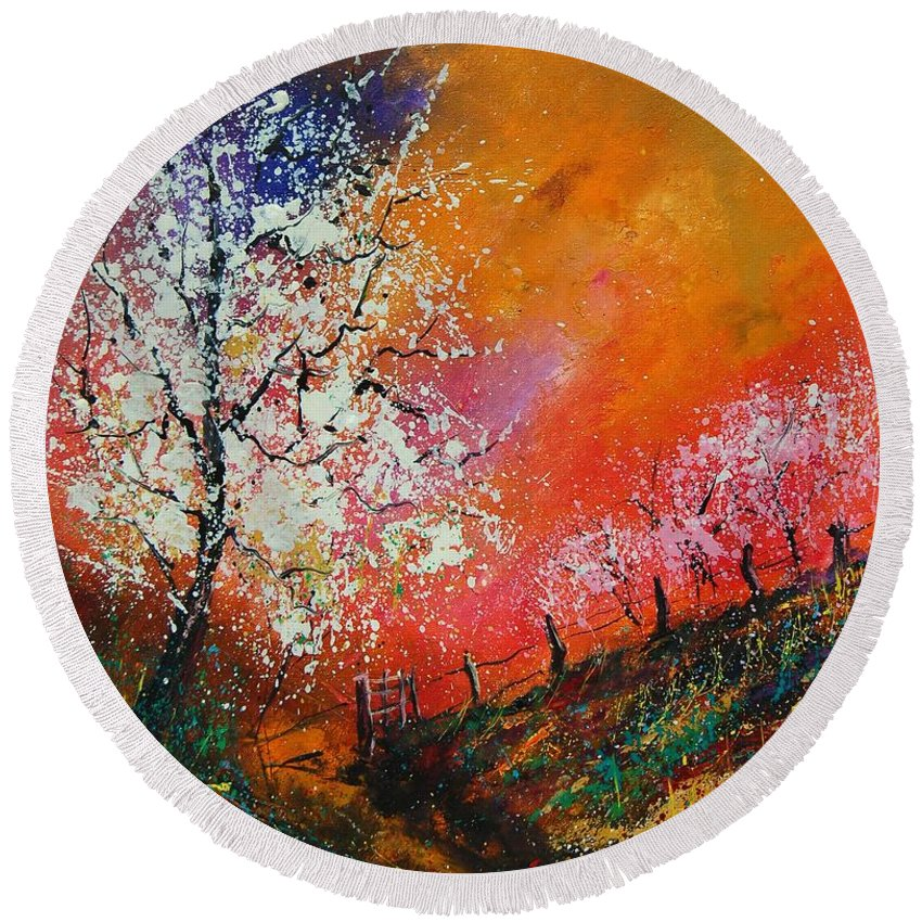 Spring Round Beach Towel featuring the painting Spring Today by Pol Ledent