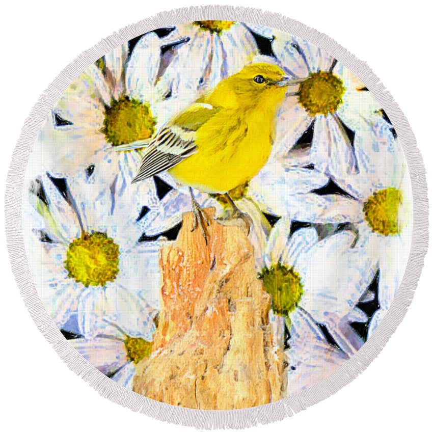 Pine Warbler Round Beach Towel featuring the photograph Spring Warbler by Tina LeCour