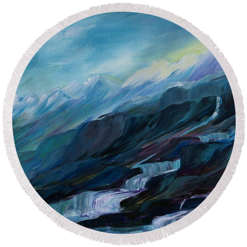 Spring Water Trickling Down Mountains Round Beach Towel featuring the painting Spring Water by Joanne Smoley