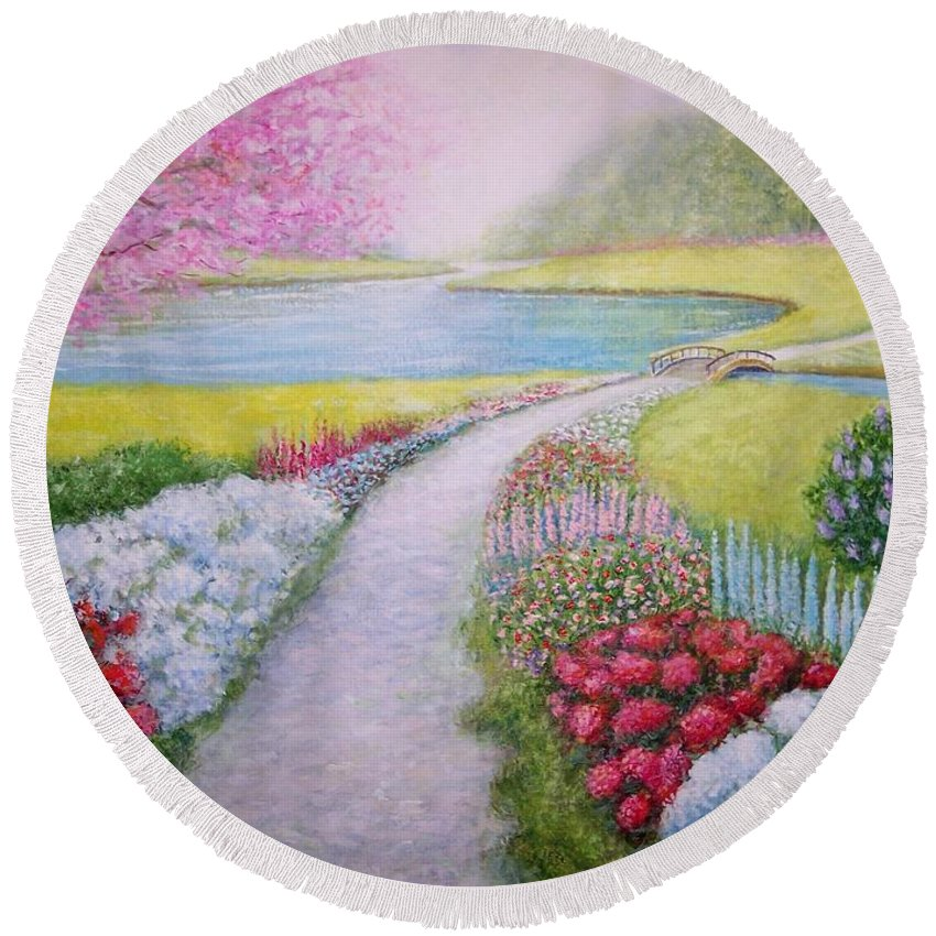 Landscape Round Beach Towel featuring the painting Spring by William Ravell