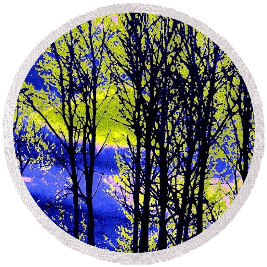 Spring Woodland Round Beach Towel featuring the digital art Spring Woodland by Will Borden