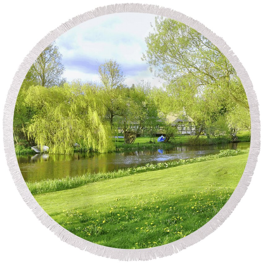 Spring Round Beach Towel featuring the photograph Springtime At Lazy Stream by Hans Erik Nielsen
