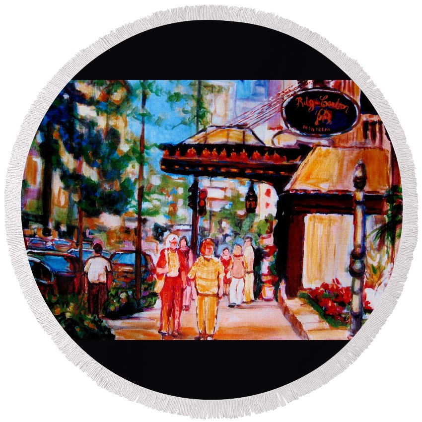 Montreal Streetscenes Round Beach Towel featuring the painting Springtime At The Ritz by Carole Spandau