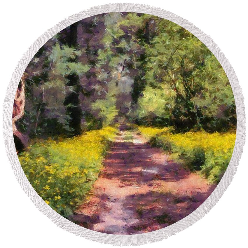 Astroni; Italy; Park; National; Nature; Forest; Trees; Color; Colour; Colorful; Colourful; Natural; Natural Environment; Natural World; Flora; Landscape; Countryside; Scenery; Flower; Flowers; Wild; Plant; Spring; Springtime; Season; Bloom; Blooming; Blossom; Blossoming; Path; Pathway; Footpath; Trail; Paint; Paints; Painting; Paintings Round Beach Towel featuring the painting Springtime In Astroni National Park In Italy by George Atsametakis