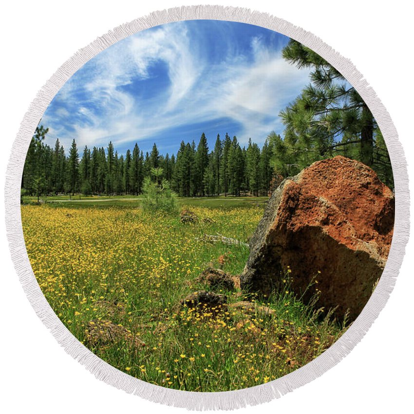 Landscape Round Beach Towel featuring the photograph Springtime In Lassen County by James Eddy