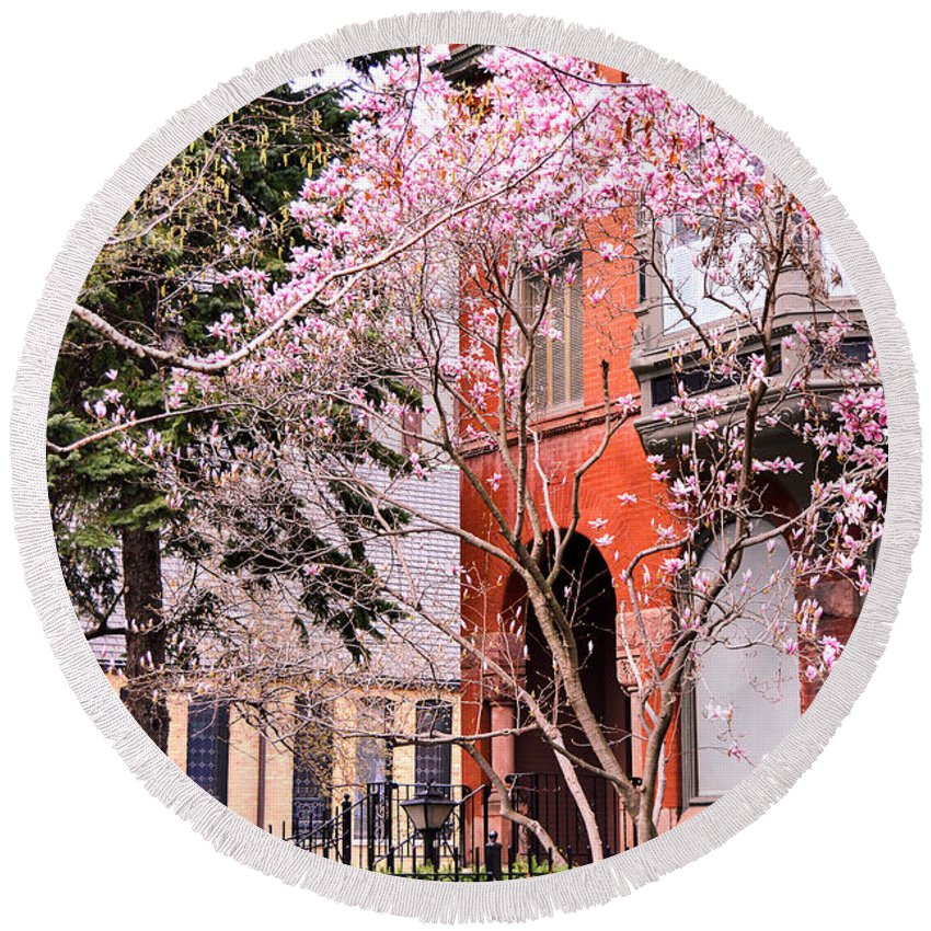 Chicago Round Beach Towel featuring the photograph Springtime In Lincoln Park by Lisa Richards