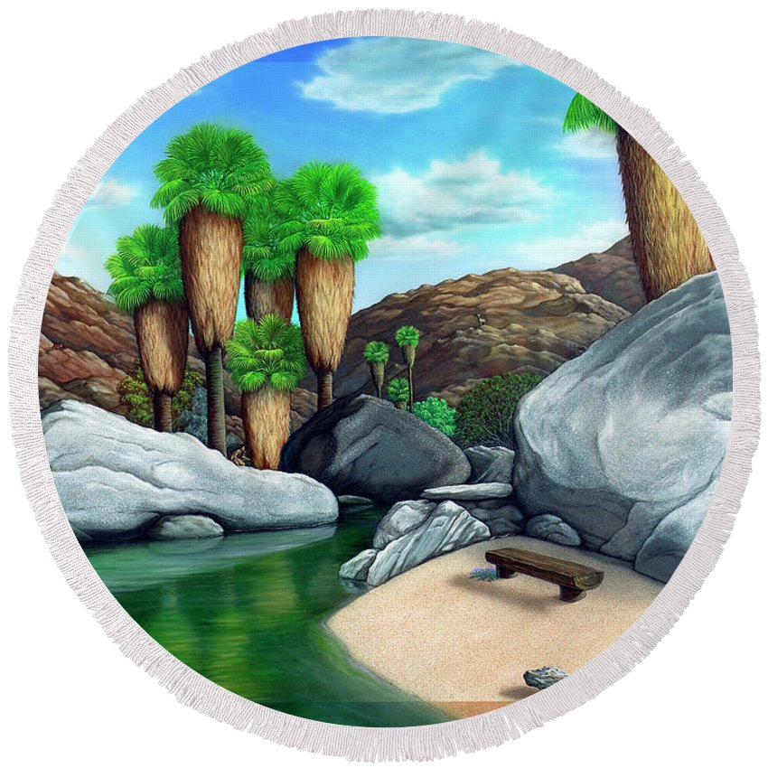 Landscape Round Beach Towel featuring the painting Springtime In The Canyons by Snake Jagger