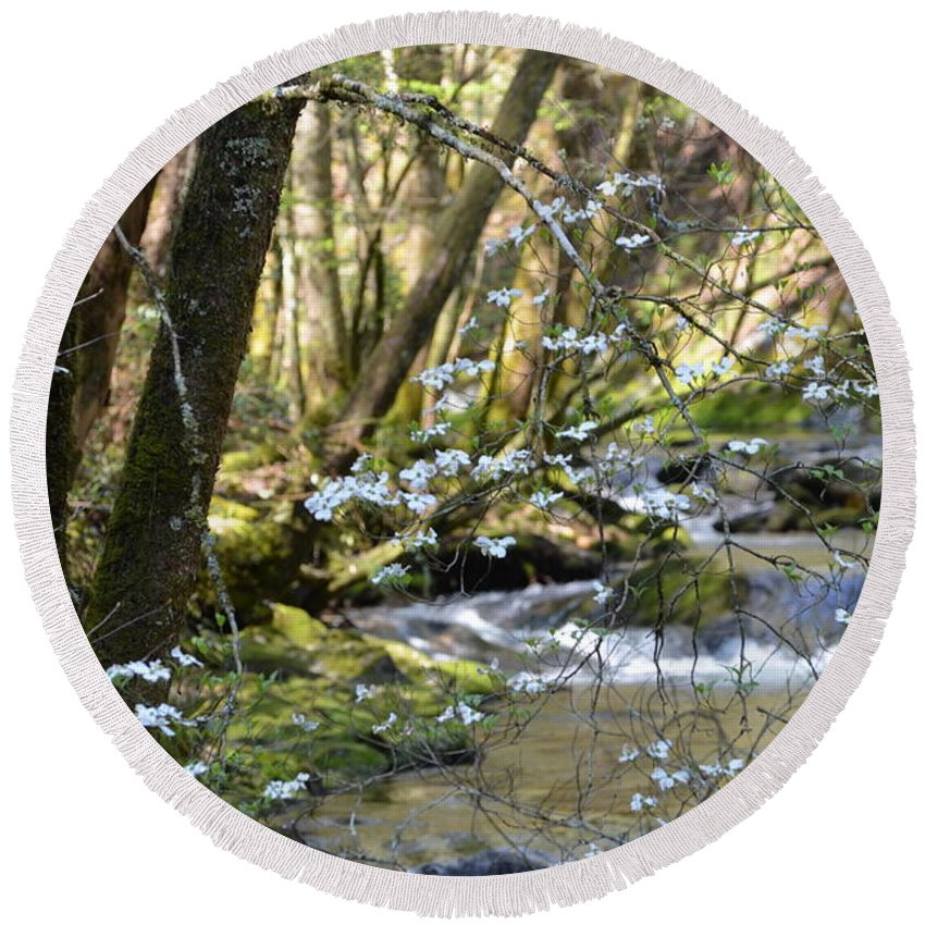 Nature Round Beach Towel featuring the photograph Springtime Stream In The Smokies by Thomas Cannon