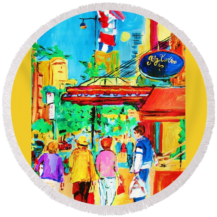 Paintings Of The Ritz Carlton On Sherbrooke Street Montreal Art Round Beach Towel featuring the painting Springtime Stroll by Carole Spandau