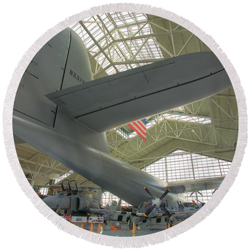 Spruce Goose Round Beach Towel featuring the photograph Spruce Goose by Darrel Giesbrecht
