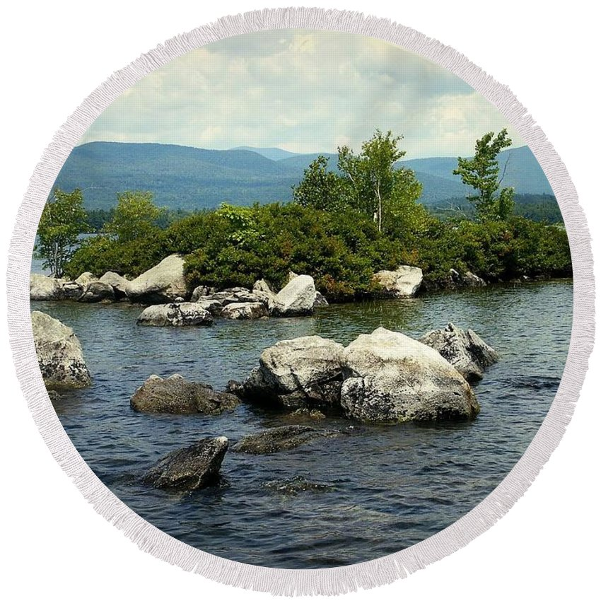 Squam Lake Round Beach Towel featuring the photograph Squam Lake, New Hampshire by James DeFazio
