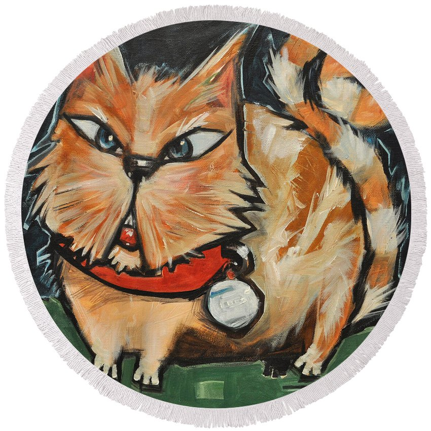 Cat Round Beach Towel featuring the painting Square Cat Two by Tim Nyberg
