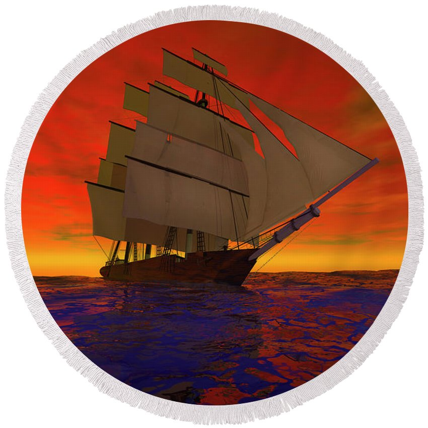 Adventure Round Beach Towel featuring the digital art Square-rigged Ship At Sunset by Carol and Mike Werner