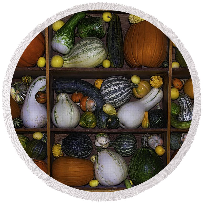 Gourds Round Beach Towel featuring the photograph Squash And Gourds In Compartments by Garry Gay