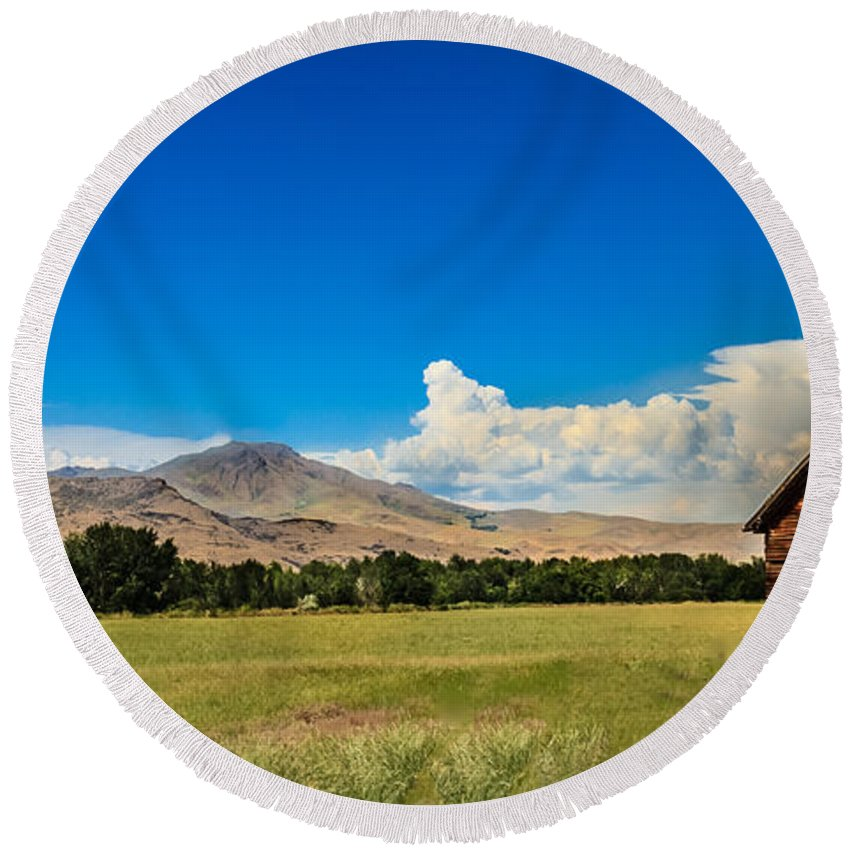 Gem County Round Beach Towel featuring the photograph Squaw Butte And Little Butte by Robert Bales