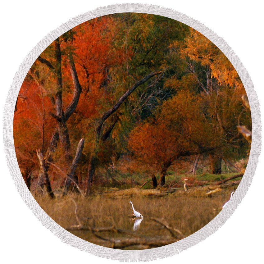 Landscape Round Beach Towel featuring the photograph Squaw Creek Egrets by Steve Karol