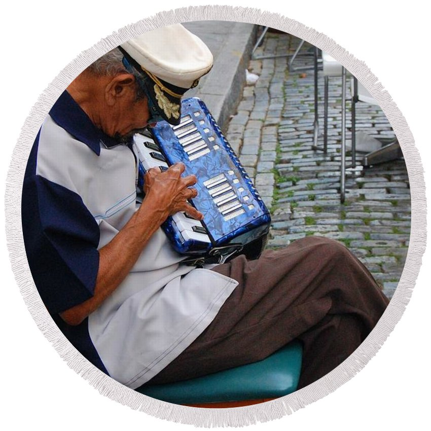 People Round Beach Towel featuring the photograph Squeeze Box by Debbi Granruth