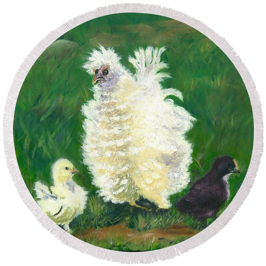 Bantam Frizzle Farmscene Chickens Hen Bird Nature Animals Spring Freerangers Round Beach Towel featuring the painting Squiggle by Paula Emery
