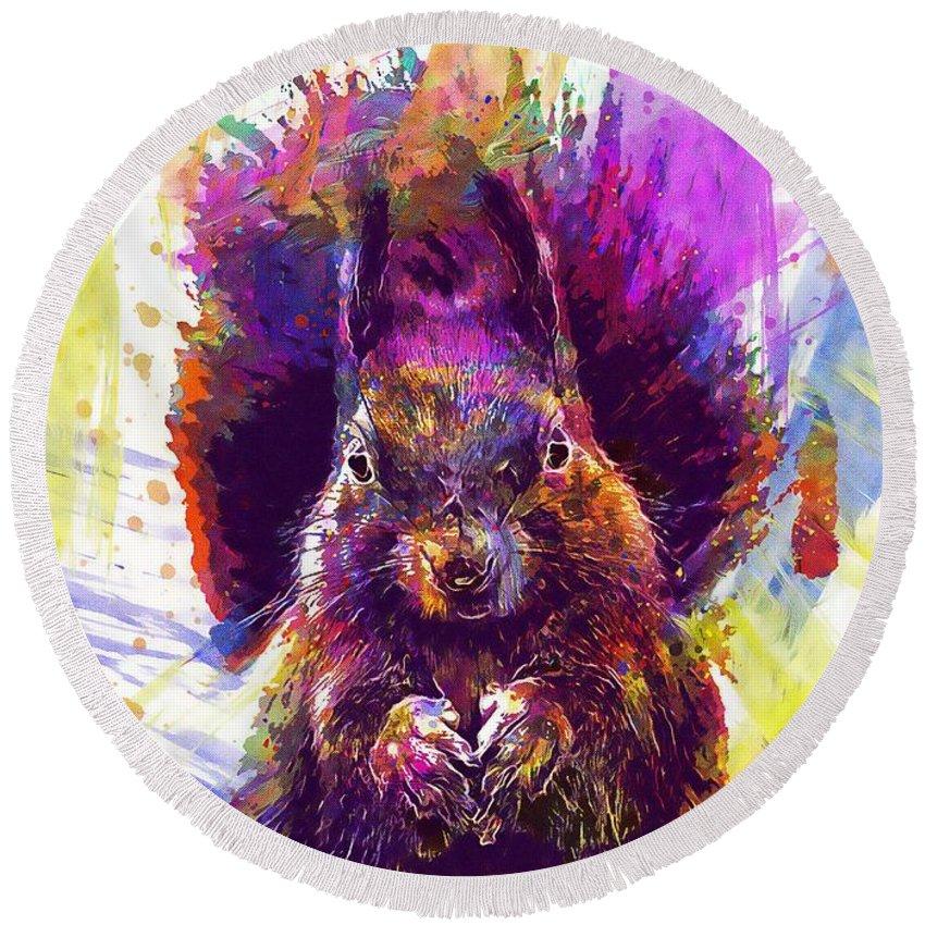 Squirrel Round Beach Towel featuring the digital art Squirrel Animals Possierlich Nager by PixBreak Art