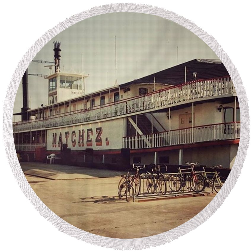 Round Beach Towel featuring the photograph Ss Natchez, New Orleans, October 1993 by John Edwards