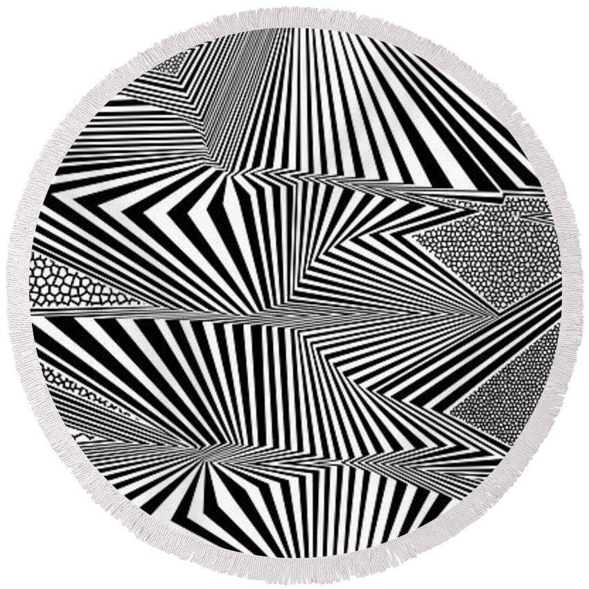 Dynamic Black And White Round Beach Towel featuring the digital art Ssergorp by Douglas Christian Larsen