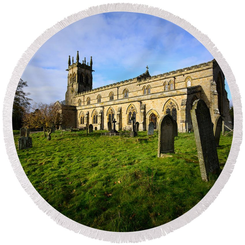 North Yorkshire Round Beach Towel featuring the photograph St Andrews Church, Aysgarth by Smart Aviation