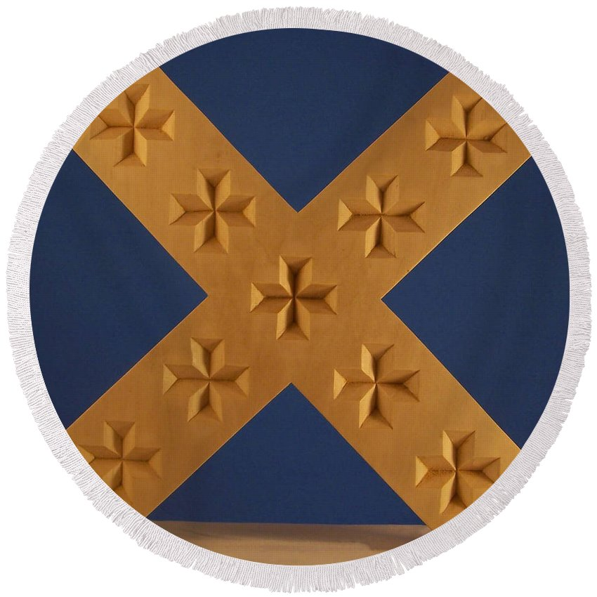St. Andrews Cross Round Beach Towel featuring the photograph St. Andrew's Cross by James Pinkerton