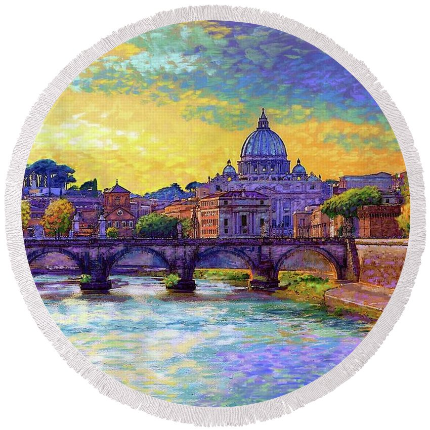 Italy Round Beach Towel featuring the painting St Angelo Bridge Ponte St Angelo Rome by Jane Small