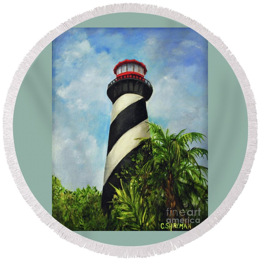 Lighthouse Round Beach Towel featuring the painting St. Augustine Lighthouse by Carolyn Shireman