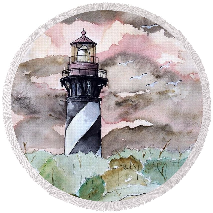 Lighthouse Round Beach Towel featuring the painting St Augustine Lighthouse by Derek Mccrea
