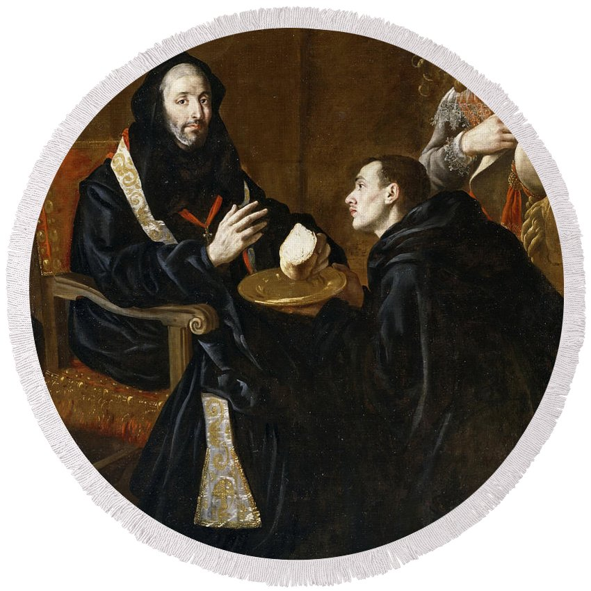 Juan Ricci St Benedict Blesses The Bread Round Beach Towel featuring the painting St Benedict Blesses The Bread by Juan Ricci