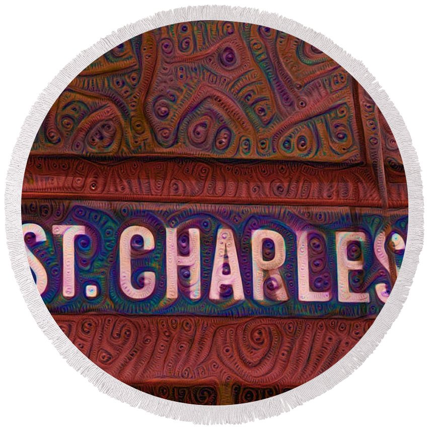 Charles Round Beach Towel featuring the painting St Charles Line by Bill Cannon