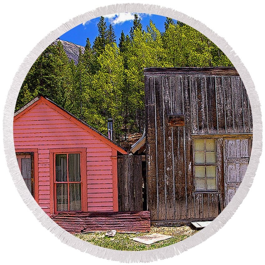 Colorado Round Beach Towel featuring the photograph St. Elmo Pink House And Barn by Rich Walter