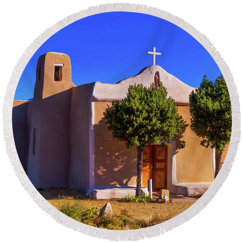 Church Round Beach Towel featuring the photograph St. Francis De Assisi Adobe Church by Stephen Anderson