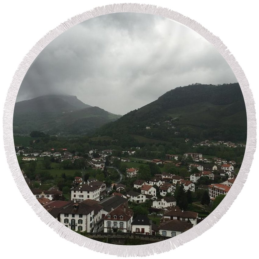 France Round Beach Towel featuring the photograph St. Jean Pied De Port by Dani Keating