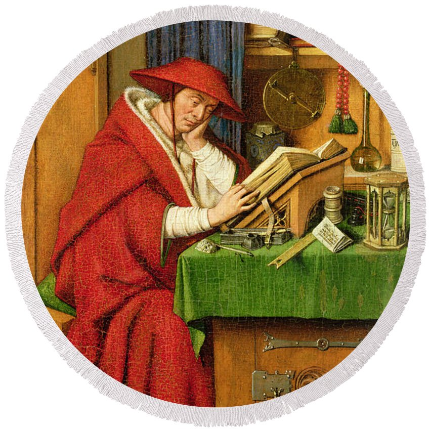 Jerome Round Beach Towel featuring the painting St. Jerome In His Study by Jan van Eyck
