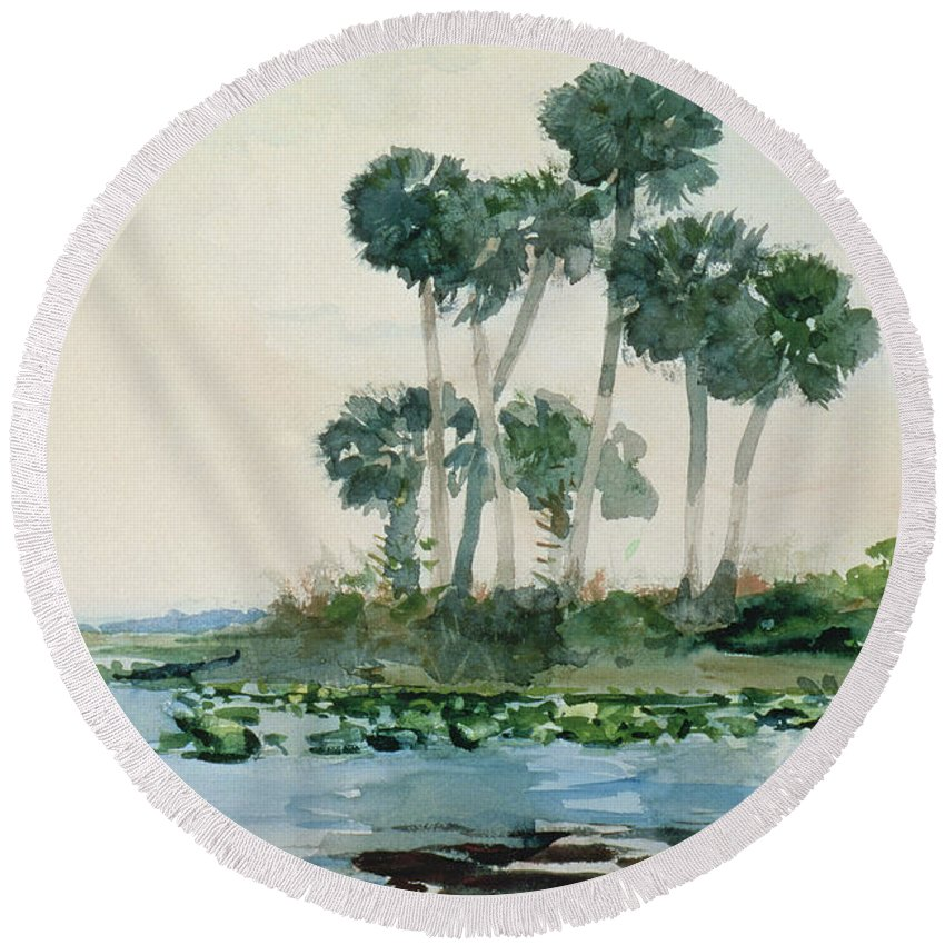 St Johns River Round Beach Towel featuring the painting St John's River Florida by Winslow Homer