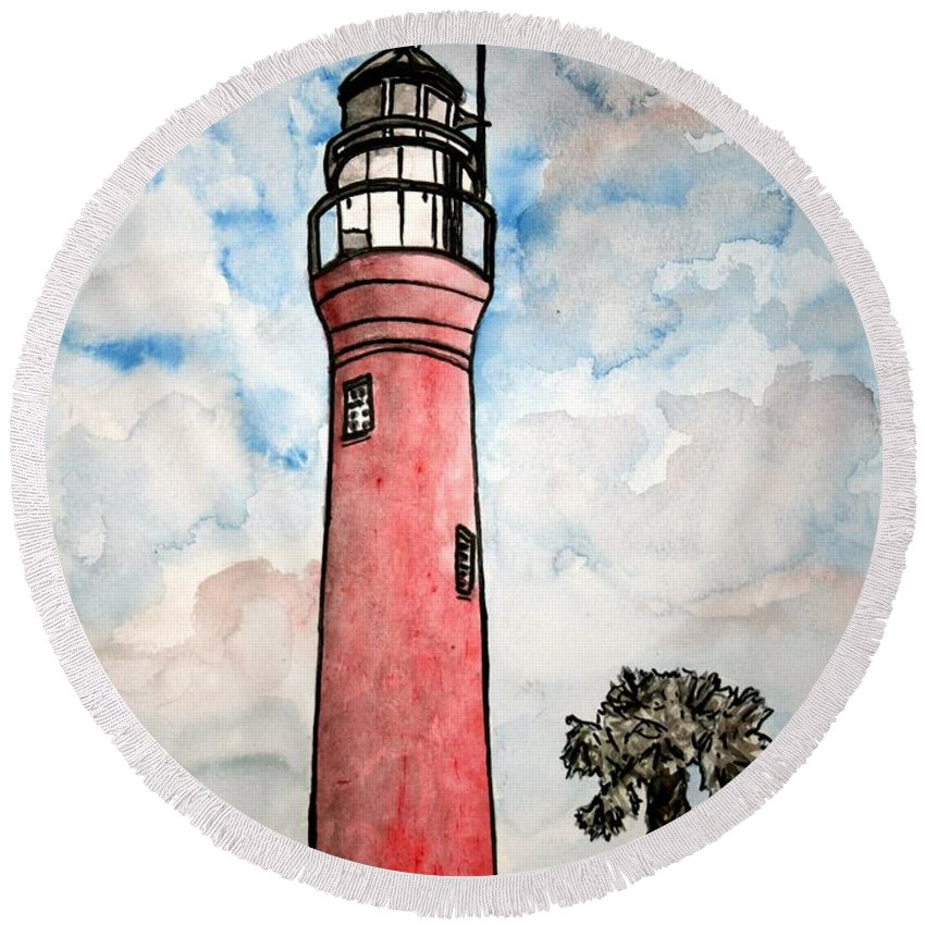 Lighthouse Round Beach Towel featuring the painting St Johns River Lighthouse Florida by Derek Mccrea