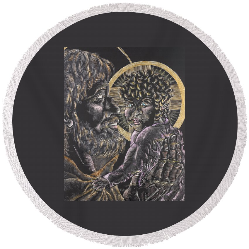 St. Joseph Round Beach Towel featuring the drawing St. Joseph And The Child Jesus by Michelle Miller