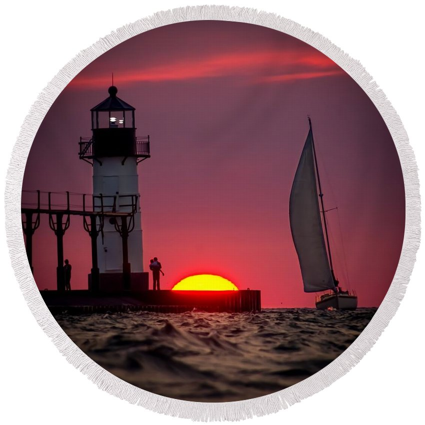 Round Beach Towel featuring the photograph St. Joseph Michigan Sail by Molly Pate