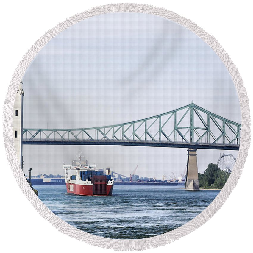 Round Beach Towel featuring the photograph St Lawrence And Laronde by Deborah Benoit