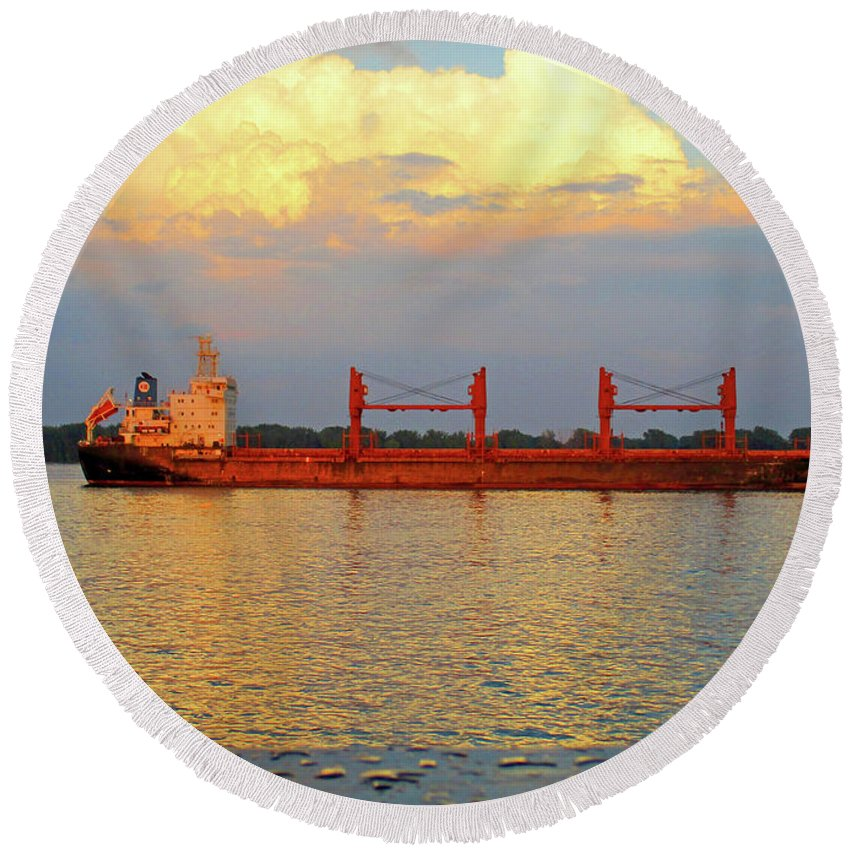 Montreal Round Beach Towel featuring the photograph St Lawrence Sunset 5 by Randall Weidner