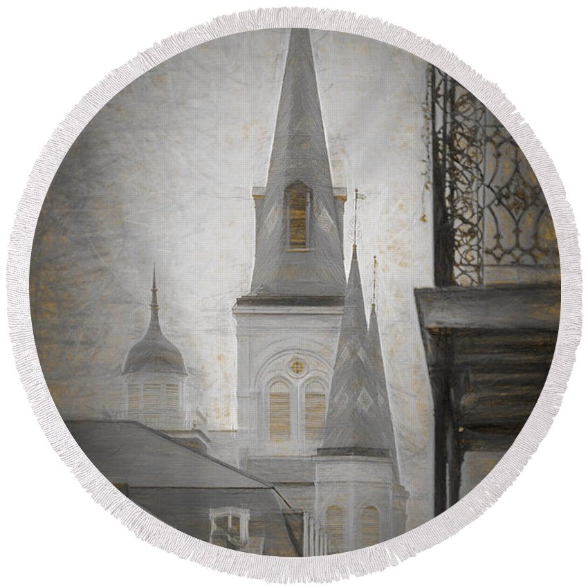 St. Louis Cathedral Round Beach Towel featuring the photograph St. Louis Cathedral From Chartres St. - Nola by Kathleen K Parker
