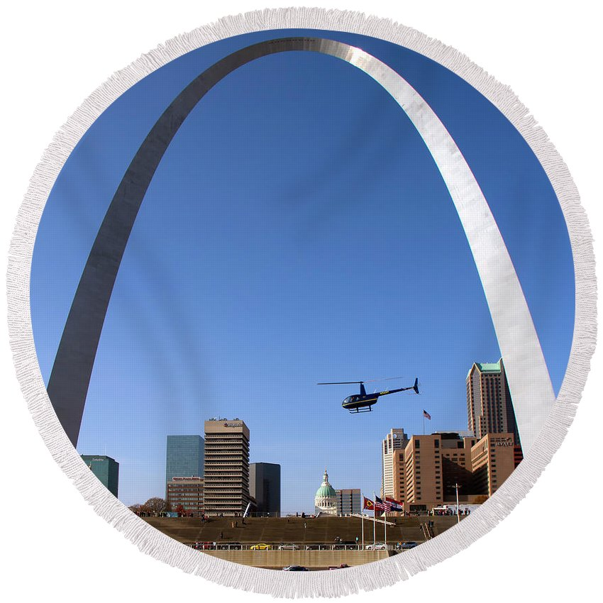 St. Louis Round Beach Towel featuring the photograph St. Louis by Debby Richards