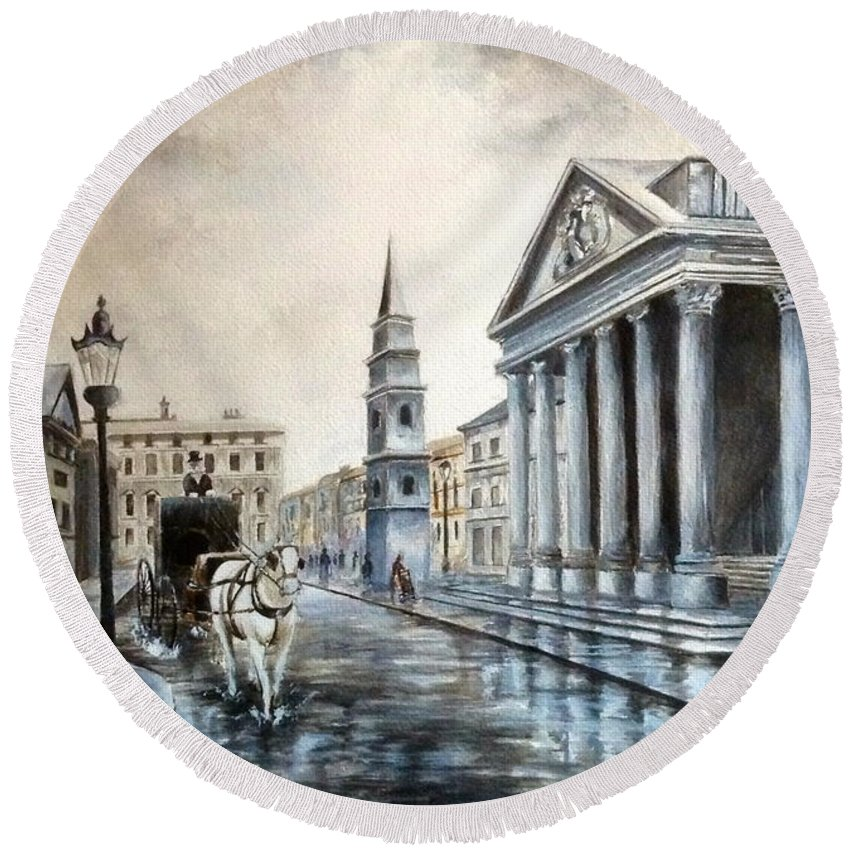 London Round Beach Towel featuring the painting St Martins London by Art By Three Sarah Rebekah Rachel White