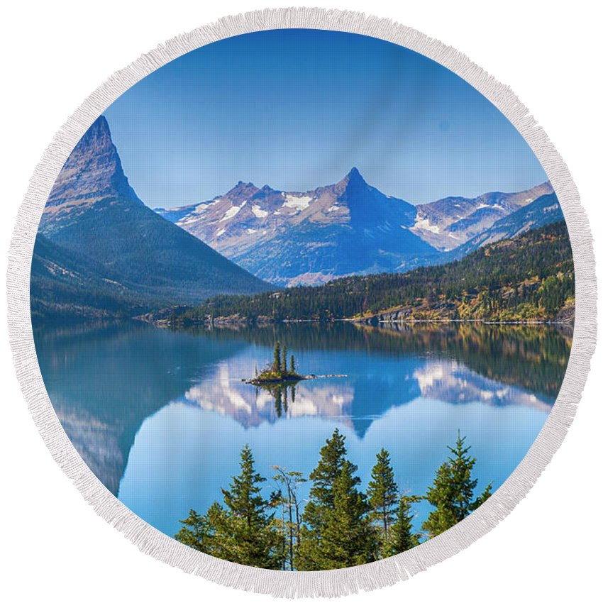 Lake Round Beach Towel featuring the photograph St Mary Lake by Bryan Spellman
