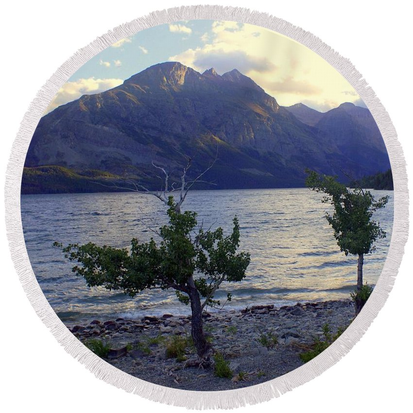St. Mary's Lake Round Beach Towel featuring the photograph St. Mary Lake by Marty Koch