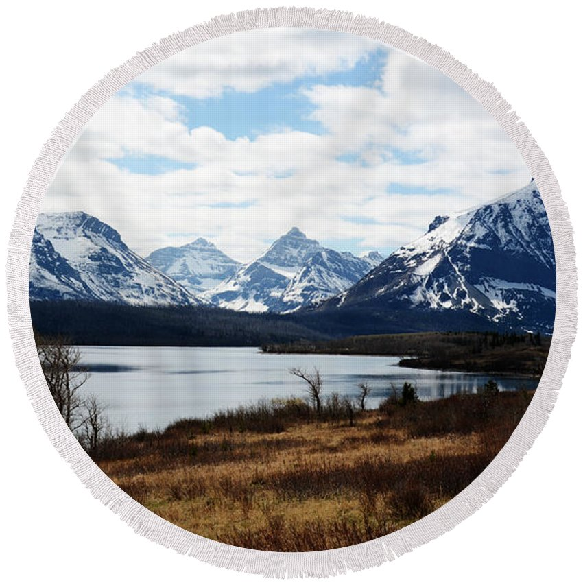 St. Mary's Lake Round Beach Towel featuring the photograph St. Mary's Lake by Whispering Peaks Photography